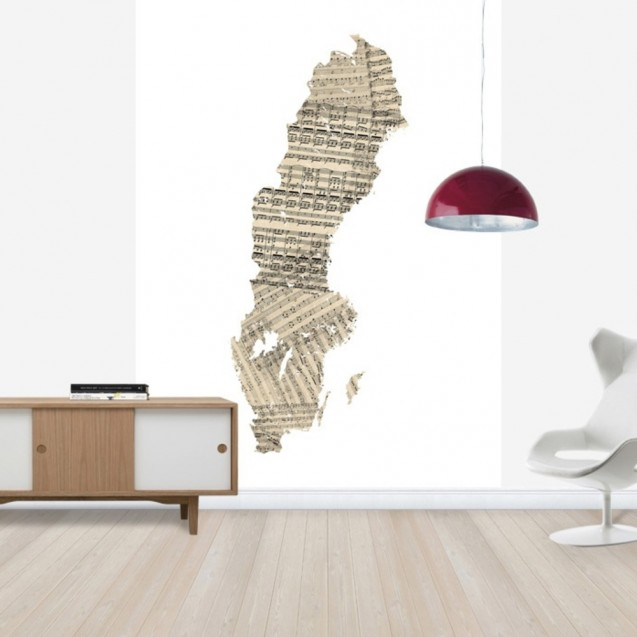 Sweden Old Music Sheet Map, personalizat, Photowall