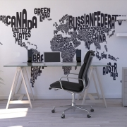 Typographic Text World Map Black, personalizat, Photowall