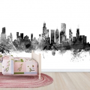 Chicago Skyline Black, personalizat, Photowall