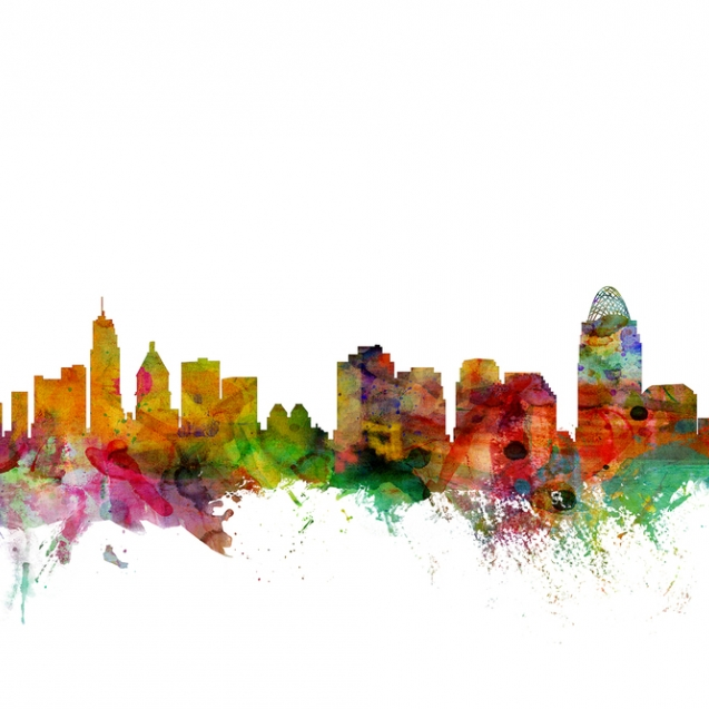 Cincinnati Ohio Skyline, personalizat, Photowall