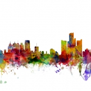 Detroit Michigan Skyline, personalizat, Photowall