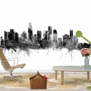 Los Angeles California Skyline Black, personalizat, Photowall