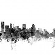 Baltimore Maryland Skyline Black, personalizat, Photowall