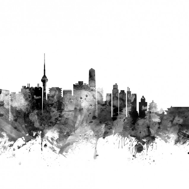 Beijing Skyline Black, personalizat, Photowall