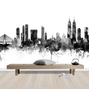 Mumbai Skyline Black, personalizat, Photowall