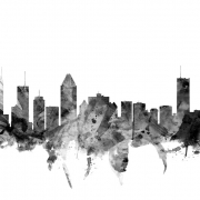 Montreal Skyline Black, personalizat, Photowall