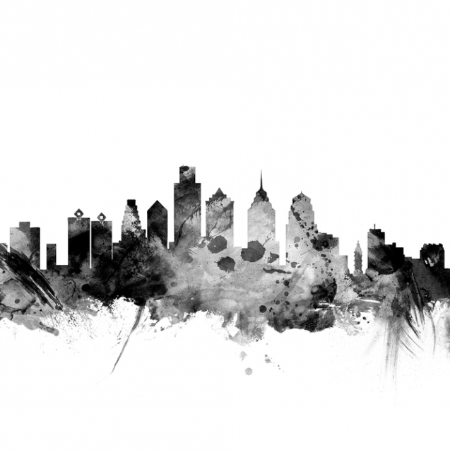Philadelphia Pennsylvania Skyline Black, personalizat, Photowall