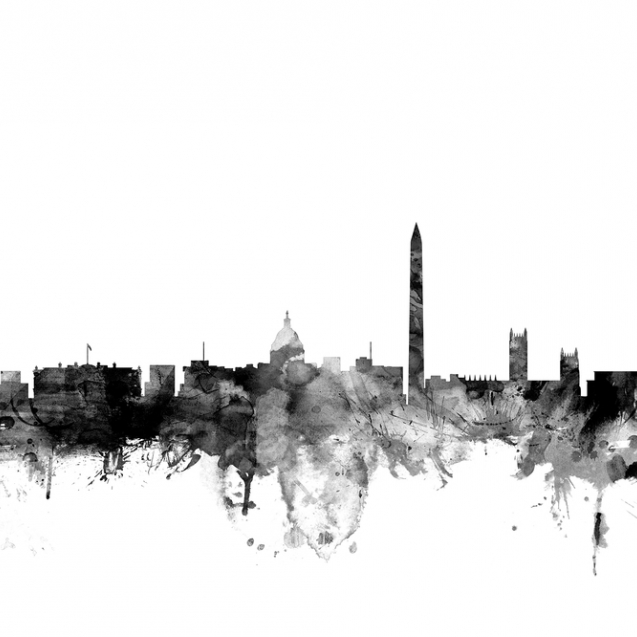 Washington DC Skyline Black, personalizat, Photowall