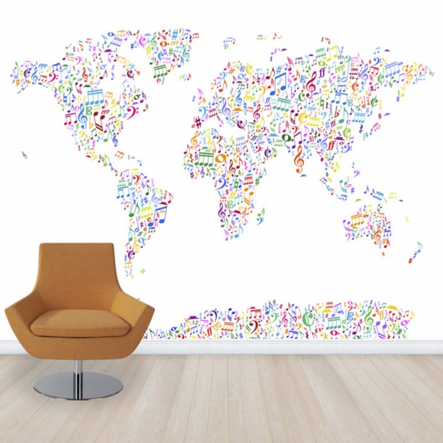 Music Notes World Map Color, personalizat, Photowall
