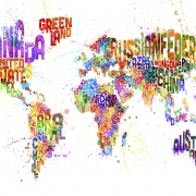 Typographic Text World Map Paint Splash, personalizat, Photowall