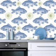 Tapet designer Seaside Fish Blue, MINDTHEGAP