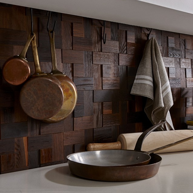 Panouri decorative din lemn Mosaic - Basketweave Oak Brown - 4 plăci